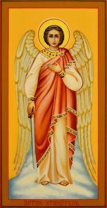 Рукописная икона Ангел Хранитель 48 (Размер 13*25 см)