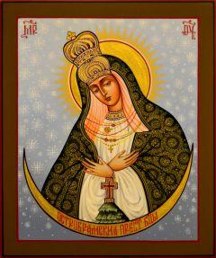 Рукописная икона Остробрамская 2 (Размер 17*21 см)