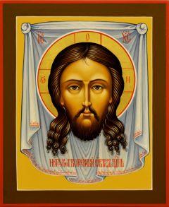 Рукописная икона Спас Нерукотворный 47 (Размер 13*16 см)