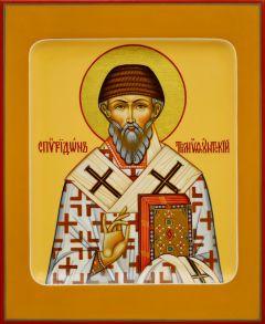 Рукописная икона Спиридон Тримифунтский 23 (Размер 13*16 см)