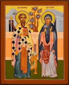 Рукописная икона Киприан и Устиния 4 (Размер 13*16 см)