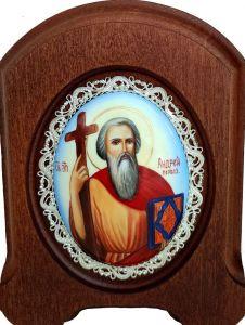 Икона из финифти Андрей Первозванный (Размер 14*16 см)