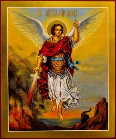 Рукописная икона Архангел Михаил 24 (Размер 21*25 см)