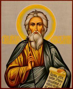 Рукописная икона Андрей Первозванный 15 (Размер 17*21 см)