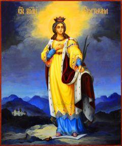 Рукописная икона Екатерина 9 (Размер 17*21 см)