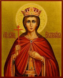 Рукописная икона Екатерина 10 (Размер 13*16 см)