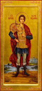 Рукописная мерная икона Георгий Победоносец масло 5