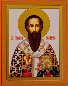 Икона на дереве Василий Великий (Размер 13*16 см)