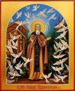 Рукописная икона Сергий Радонежский Чудо о птицах 2 (Размер 17*21 см)
