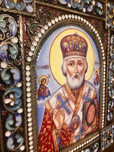 Икона из финифти Николай Чудотворец 3 (Размер 18*21 см)