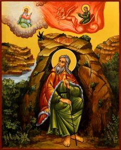 Рукописная икона Илия Пророк 7 (Размер 17*21 см)