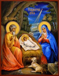 Рукописная икона Рождество Христово 8 (Размер 17*21 см)