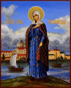 Рукописная икона Ксения Петербургская 11 (Размер 17*21 см)