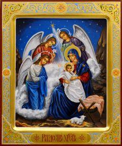Рукописная икона Рождество Христово 9 (Размер 21*25 см)