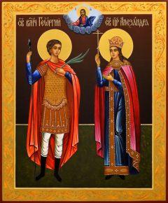 Рукописная икона Георгий Победоносец и царица Александра
