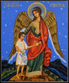 Рукописная икона Ангел с Душой 100 (Размер 17*21 см)