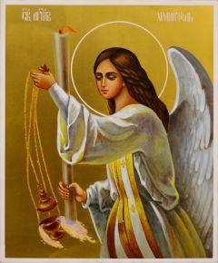Рукописная икона Ангел с кадилом 103 (Размер 17*21 см)