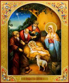Рукописная икона Рождество Христово 10 (размер 21*25 см)