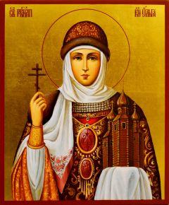 Рукописная икона Ольга равноапостольная 16 (Размер 17*21 см)