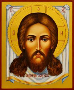 Рукописная икона Спас Нерукотворный 48 (Размер 17*21 см)