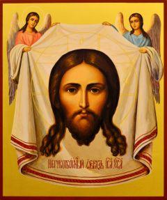 Рукописная икона Спас Нерукотворный с Ангелами 49 (Размер 21*25 см)