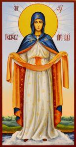 Рукописная икона Покров Пресвятой Богородицы 15 (Размер 13*25 см)