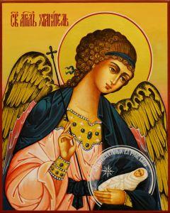 Рукописная икона Ангел Хранитель с Душой 85 (Размер 13*16 см)