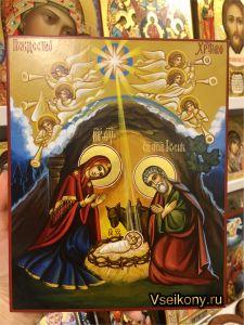 Рукописная икона Рождество Христово 2 (Размер 17*21 см)
