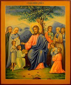 Рукописная икона Благословение детей под старину (Размер 22*27 см)