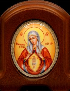 Икона из финифти Помощница в родах (Размер 11*14 см)