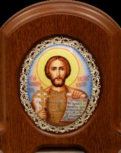 Икона из финифти Александр Невский (Размер 11*14 см)