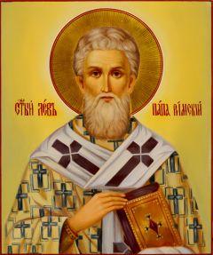 Рукописная икона Лев папа Римский масло