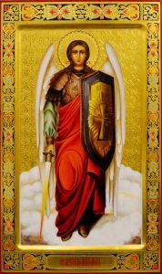 Рукописная мерная икона Архангел Михаил 3