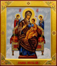 Рукописная икона Всецарица с резьбой 14