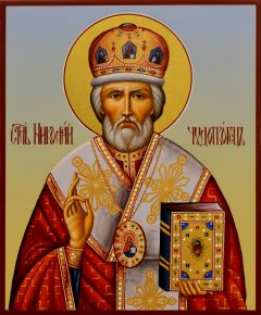 Рукописная икона Николай Чудотворец 80