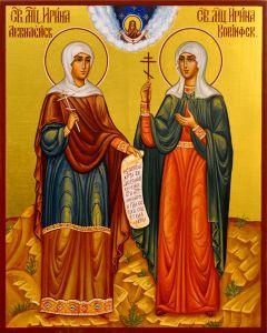 Рукописная икона Ирина Аквилейская и Ирина Коринфская
