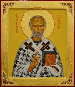 Рукописная икона Николай Чудотворец с резьбой 82 (Размер 27*31 см)