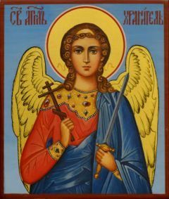 Рукописная икона Ангел Хранитель 110 (Размер 9*10.5 см)