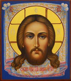 Рукописная икона Спас Нерукотворный 50 (Размер 9*10.5 см)
