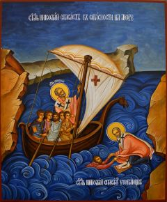 Рукописная икона Николай Чудотворец спасает на море