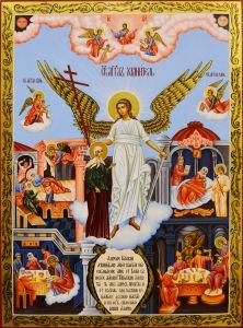 Рукописная икона Ангел Хранитель и Ксения Петербургская