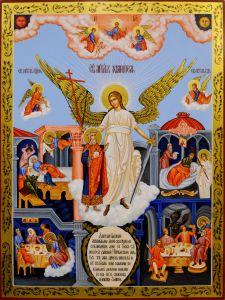 Рукописная икона Ангел Хранитель и Ярослав Мудрый