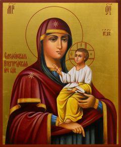 Рукописная икона Смоленская Новгородская (Холерная)