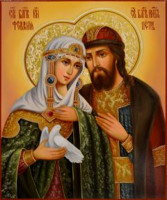 Рукописная икона Петр и Феврония масло 100