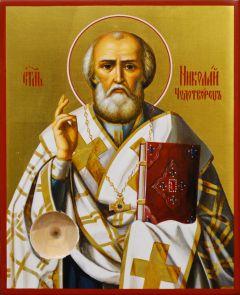 Рукописная икона Николай Чудотворец 87