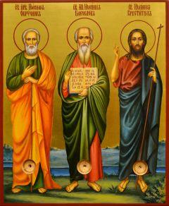 Рукописная икона Иоанн Креститель, Иосиф Обручник, Иоанн Богослов