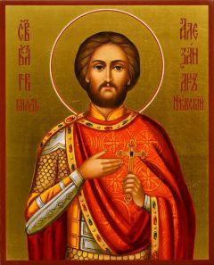 Рукописная икона Александр Невский 37 (Размер 13*16 см)