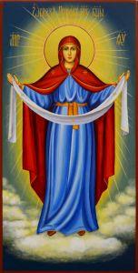 Рукописная икона Покров 17 (Размер 13*25 см)