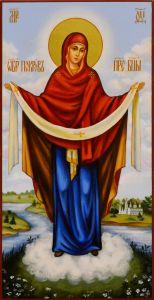 Рукописная икона Покров Богородицы 18 (Размер 13*25 см)