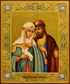 Рукописная икона Петр и Феврония с лунными камнями 103 (Размер 21*25 см)